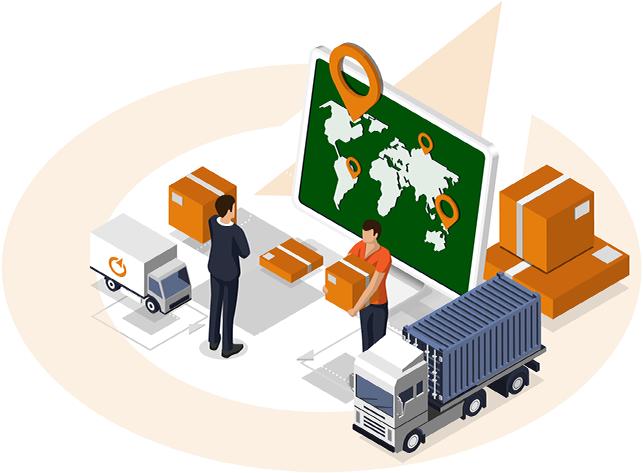 ilustrace logistického centra s nákladními vozy, balíky